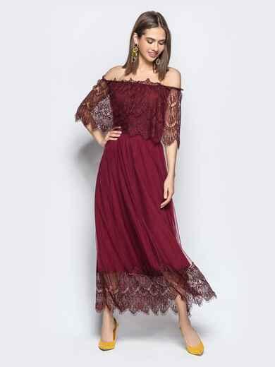 Расклешенное платье с открытыми плечами бордое - 21844, фото 1 – интернет-магазин Dressa