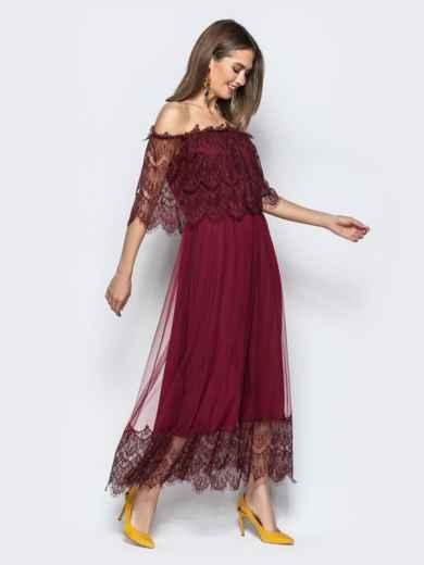 Расклешенное платье с открытыми плечами бордое - 21844, фото 2 – интернет-магазин Dressa