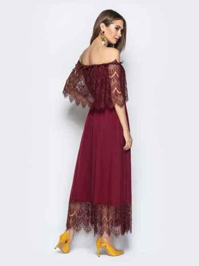 Расклешенное платье с открытыми плечами бордое - 21844, фото 3 – интернет-магазин Dressa