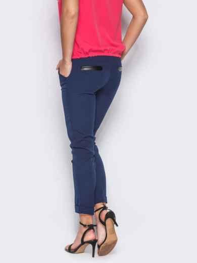 Синие брюки с кожаной отделкой на карманах 10327, фото 3