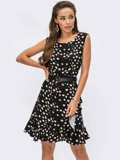 Черное принтованное платье без рукавов 54250, фото 1