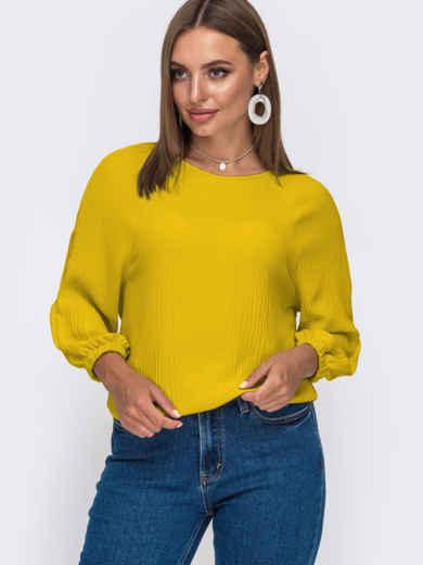 Свободная блузка с рукавом-реглан жовта 54326, фото 1