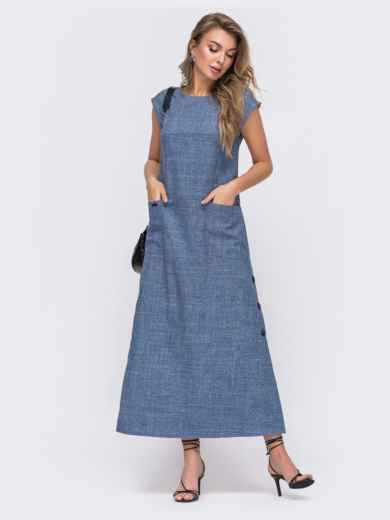 Платье-макси прямого кроя с разрезами по бокам синее 48252, фото 1