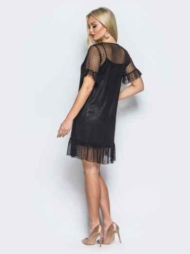 Атласное платье-комбинация с накидкой из фатина черное - 18140, фото 2 – интернет-магазин Dressa