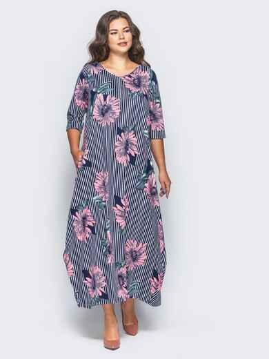 Длинное платье в полоску с принтом «розовые цветы» - 16671, фото 1 – интернет-магазин Dressa