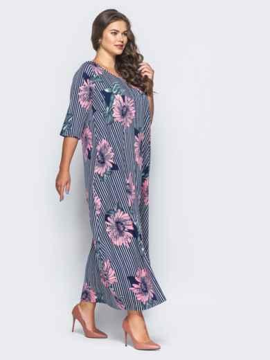 Длинное платье в полоску с принтом «розовые цветы» - 16671, фото 2 – интернет-магазин Dressa