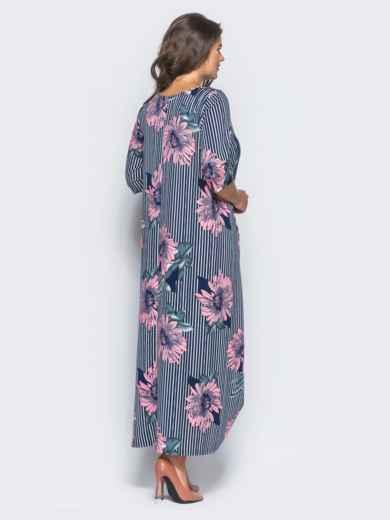 Длинное платье в полоску с принтом «розовые цветы» - 16671, фото 3 – интернет-магазин Dressa
