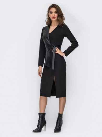 Платье-миди со вставкой из эко-кожи чёрное - 42017, фото 2 – интернет-магазин Dressa