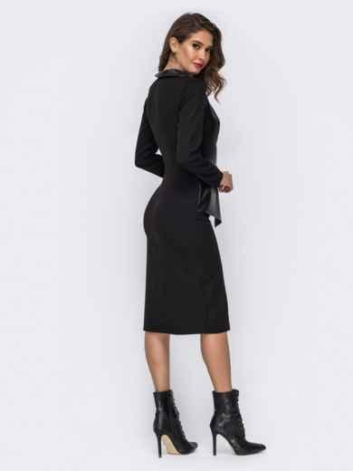 Платье-миди со вставкой из эко-кожи чёрное - 42017, фото 3 – интернет-магазин Dressa