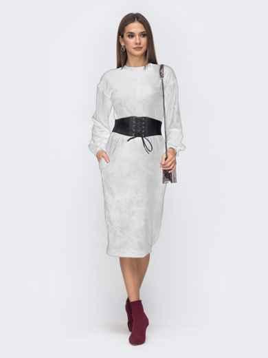 Платье прямого кроя из велюра белое 42302, фото 1