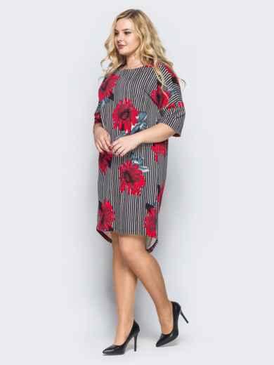 Платье свободного кроя в полоску с красными цветами 16667, фото 2