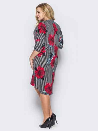 Платье свободного кроя в полоску с красными цветами 16667, фото 3