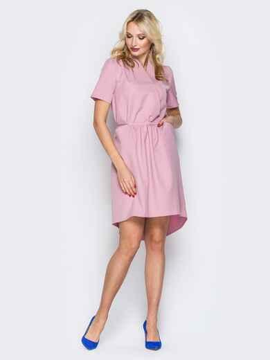 Розовое платье с кулиской на поясе и фиксированным запахом 19905, фото 1