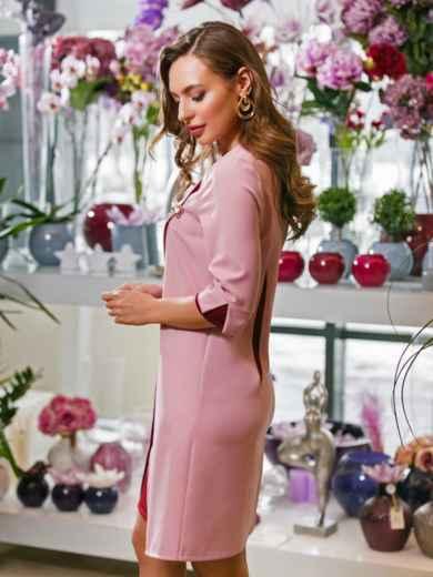 Розовое платье-трапеция с контрастными вставками и брошью - 19899, фото 2 – интернет-магазин Dressa