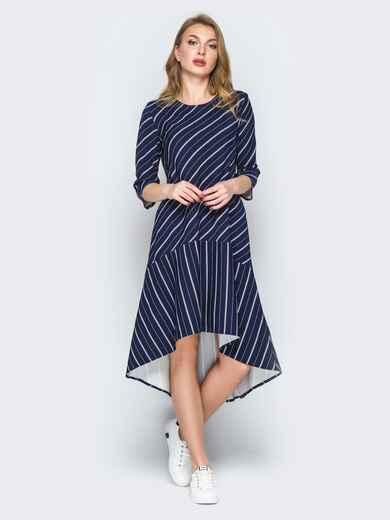 Синее платье в полоску со шлейфом и воланом по низу 19900, фото 1