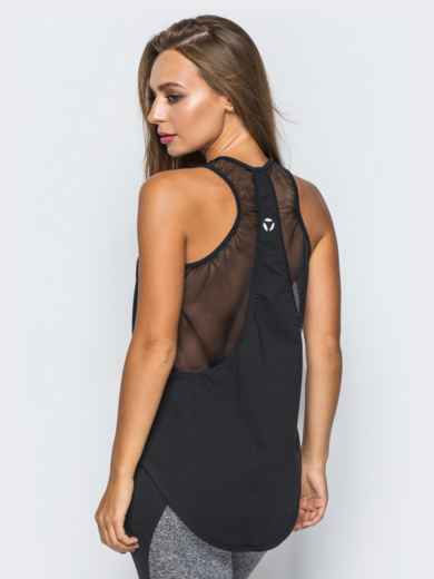 Спортивная майка с эластичной сеткой на спинке черная - 17195, фото 2 – интернет-магазин Dressa