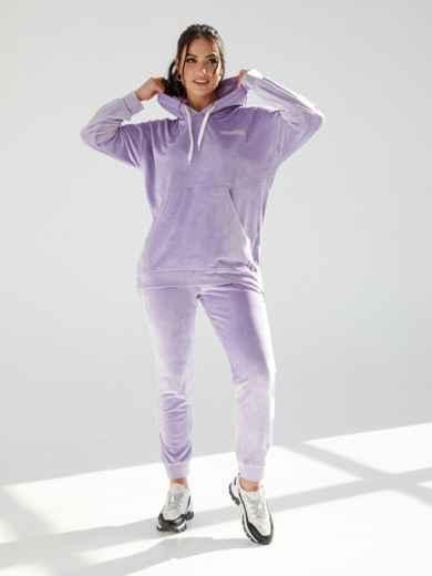 Велюровый костюм-двойка батал из кофты и брюк фиолетовый 53220, фото 1