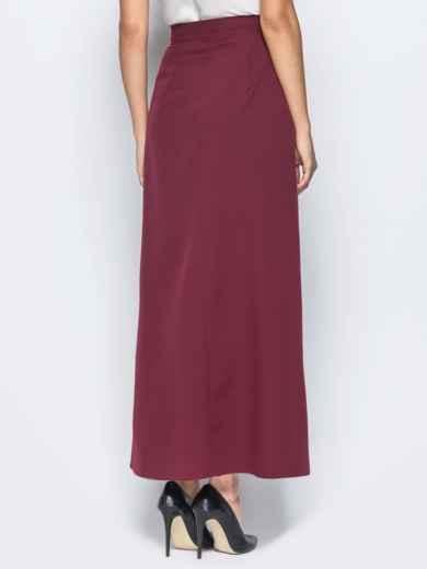 Юбка-макси бордового цвета на пуговицах - 16547, фото 2 – интернет-магазин Dressa