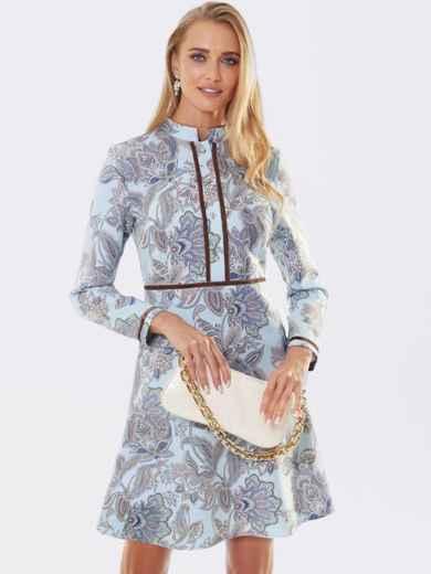 Бирюзовое платье с принтом и юбкой-трапецией 53365, фото 1