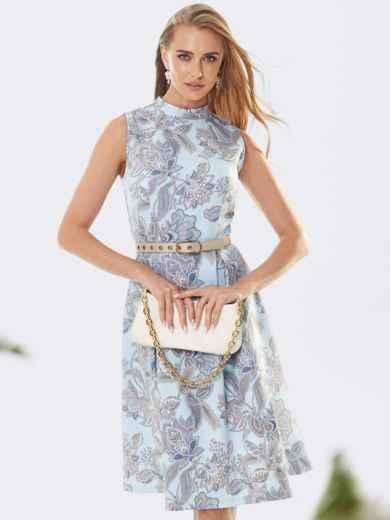 Принтованное платье с бантовыми складками на юбке бирюзовое 53366, фото 1