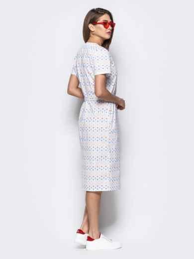 """Белое платье с принтом """"знаки""""  и контрастными пуговицами 21711, фото 2"""