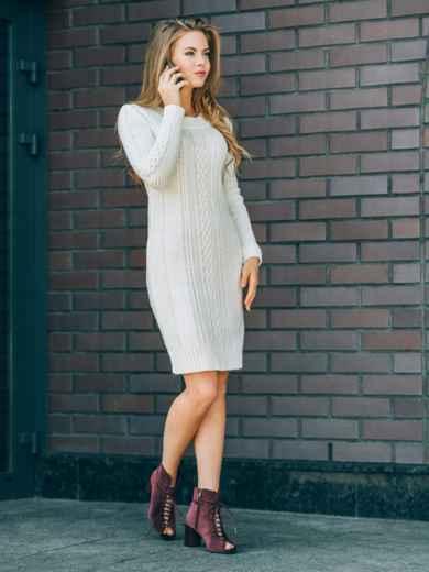 Белое вязаное платье с резинкой на манжетах и по низу - 13165, фото 2 – интернет-магазин Dressa