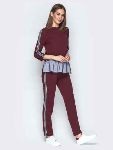 Бордовый комплект с двухслойным воланом по низу на кофте - 21997, фото 2 – интернет-магазин Dressa