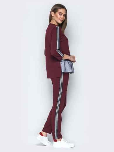 Бордовый комплект с двухслойным воланом по низу на кофте - 21997, фото 3 – интернет-магазин Dressa