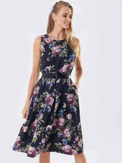 Черное платье без рукавов в цветочный принт 53364, фото 1