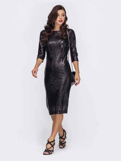Чёрное платье-миди с пайетками и вырезом по спинке 52062, фото 1