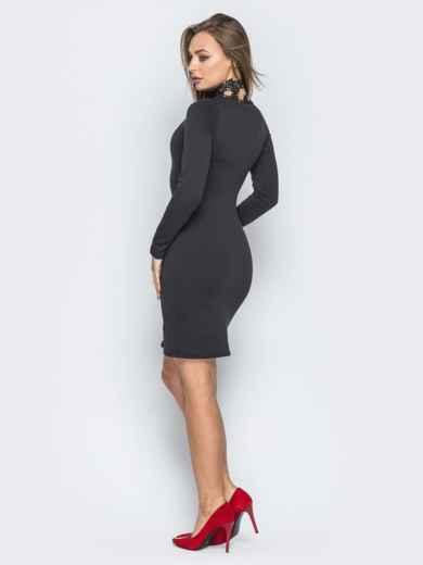 Чёрное платье с фигурным вырезом и гипюровой окантовкой - 19229, фото 3 – интернет-магазин Dressa