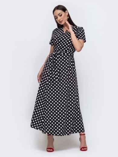 Длинное платье батал в горох чёрное 46113, фото 1