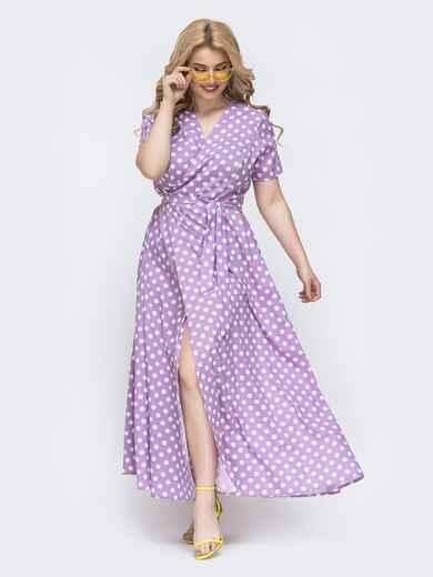 Длинное платье батал в горох сиреневое 46114, фото 1