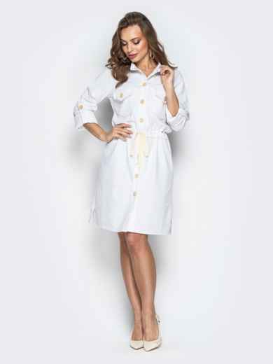 Льняное платье-рубашка с кулиской по талии белое 20663, фото 2