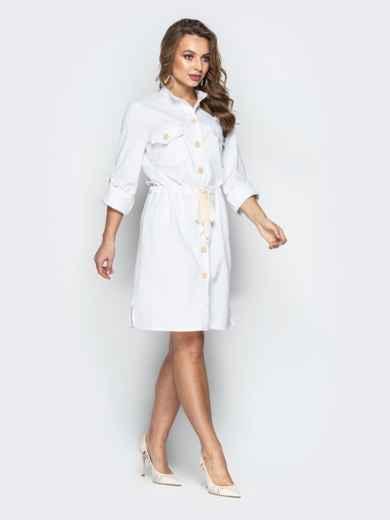 Льняное платье-рубашка с кулиской по талии белое 20663, фото 3