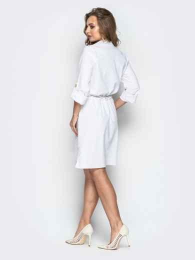 Льняное платье-рубашка с кулиской по талии белое 20663, фото 4
