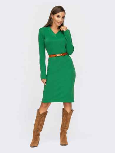 Облегающее платье из джерси с V-образным вырезом зеленое 55130, фото 1