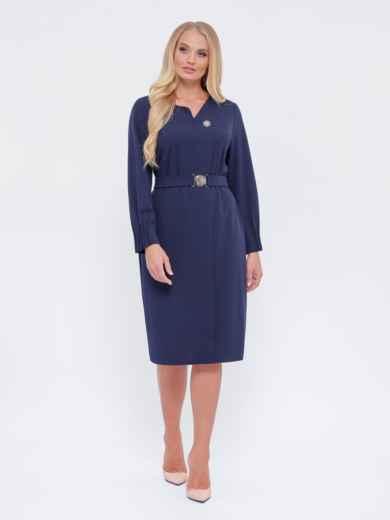 Платье батал из тиара с фигурным вырезом темно-синее 51692, фото 1