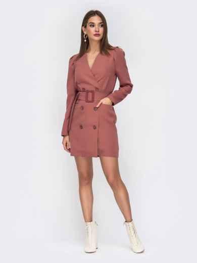 Платье-пиджак розового цвета с широким поясом - 42221, фото 2 – интернет-магазин Dressa