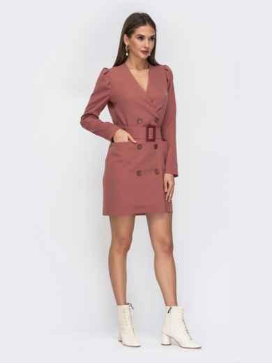 Платье-пиджак розового цвета с широким поясом - 42221, фото 3 – интернет-магазин Dressa