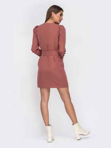 Платье-пиджак розового цвета с широким поясом - 42221, фото 4 – интернет-магазин Dressa