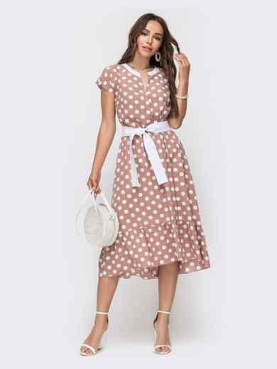 Расклешенное платье в горох с оборкой по низу пудровое 49154, фото 2