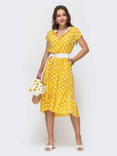 Расклешенное платье в горох с оборкой по низу желтое 49156, фото 2