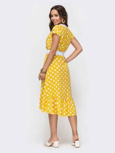 Расклешенное платье в горох с оборкой по низу желтое 49156, фото 3