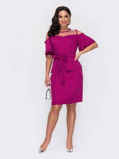 Розовое платье батал приталенного кроя с фатином 52204, фото 1