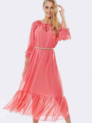 Шифоновое платье-миди с воланом по низу коралловое 53368, фото 1