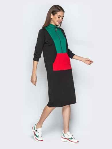 Спортивное платье oversize с карманом-кенгуру чёрное - 20966, фото 2 – интернет-магазин Dressa