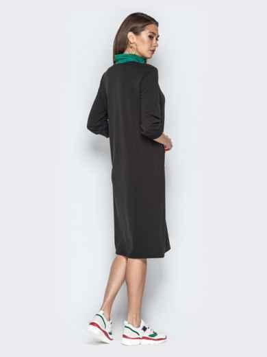 Спортивное платье oversize с карманом-кенгуру чёрное - 20966, фото 3 – интернет-магазин Dressa