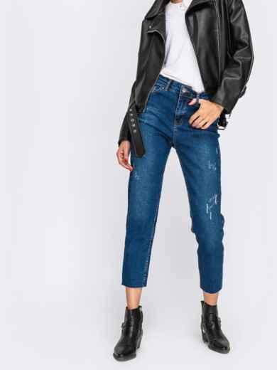 Укороченные джинсы-мом с завышенной талией синие - 41901, фото 1 – интернет-магазин Dressa