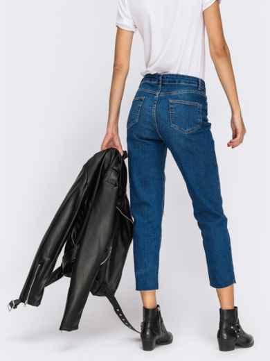 Укороченные джинсы-мом с завышенной талией синие - 41901, фото 2 – интернет-магазин Dressa